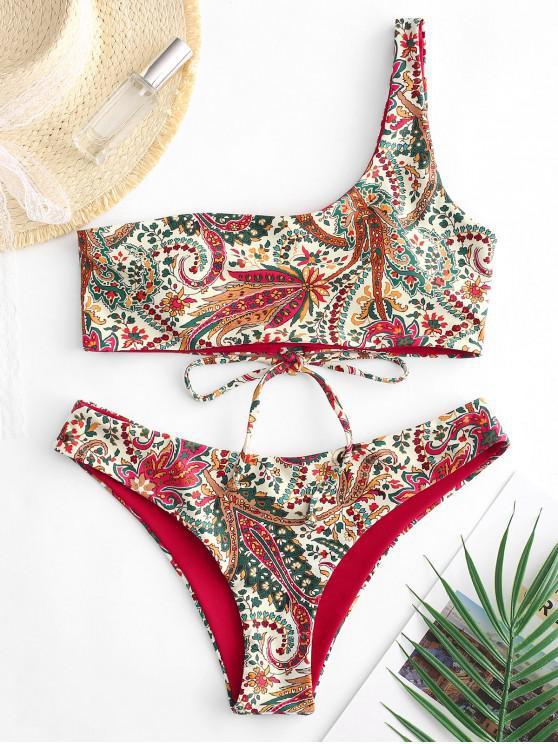 sale ZAFUL Reversible Bohemian Lace Up One Shoulder Bikini Swimsuit - MULTI-A L