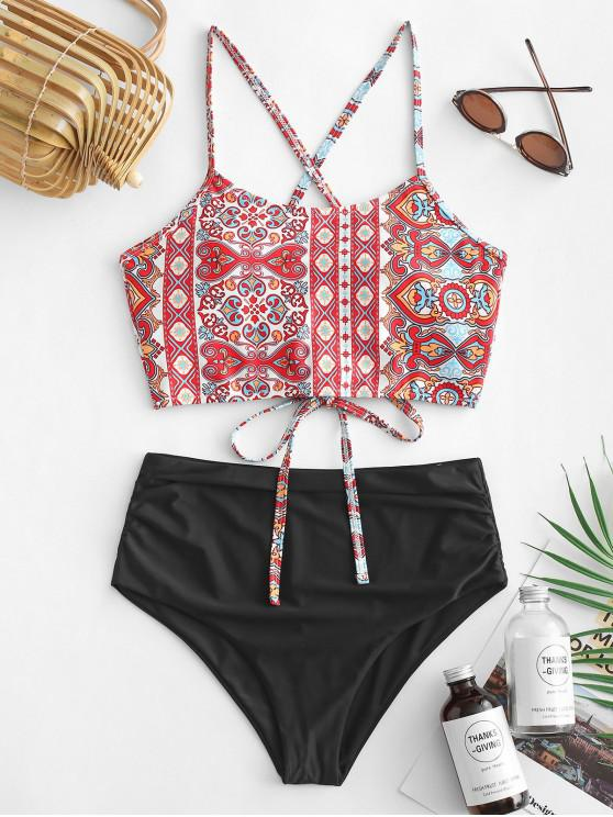 womens ZAFUL Bohemian Lace Up High Waisted Tankini Swimsuit - MULTI-A S
