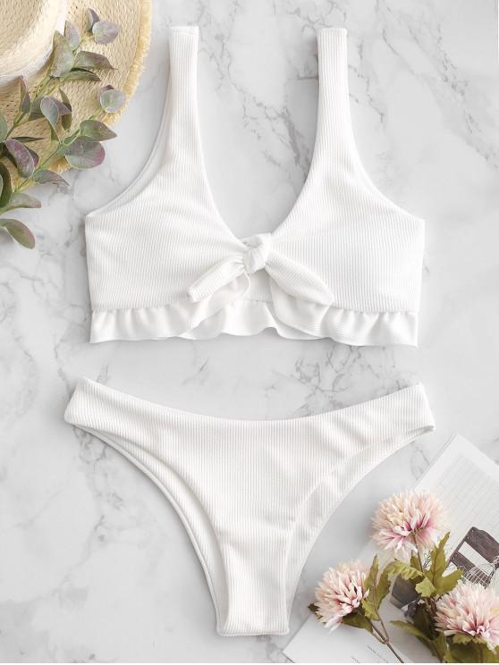unique ZAFUL Ribbed Ruffle Tied Bikini Swimsuit - WHITE S