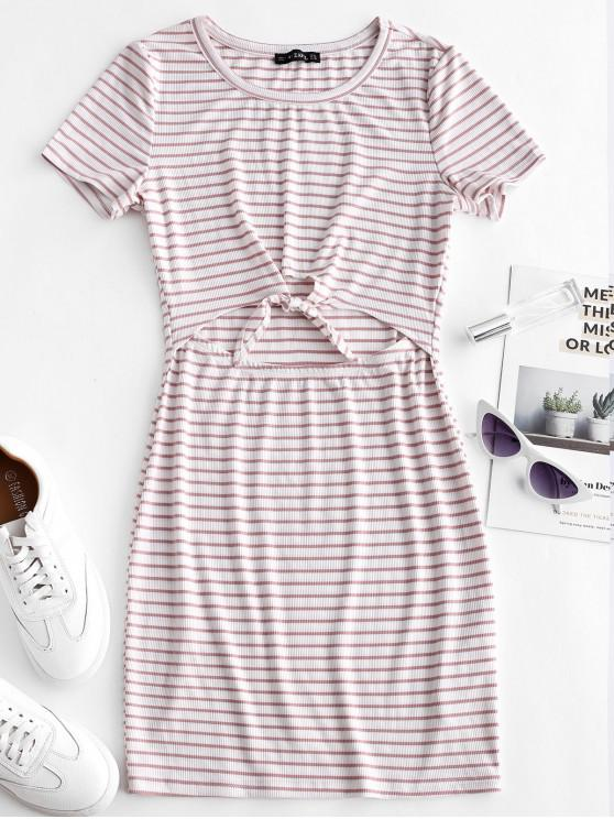 sale ZAFUL Cut Out Striped Knotted Tee Dress - WHITE L