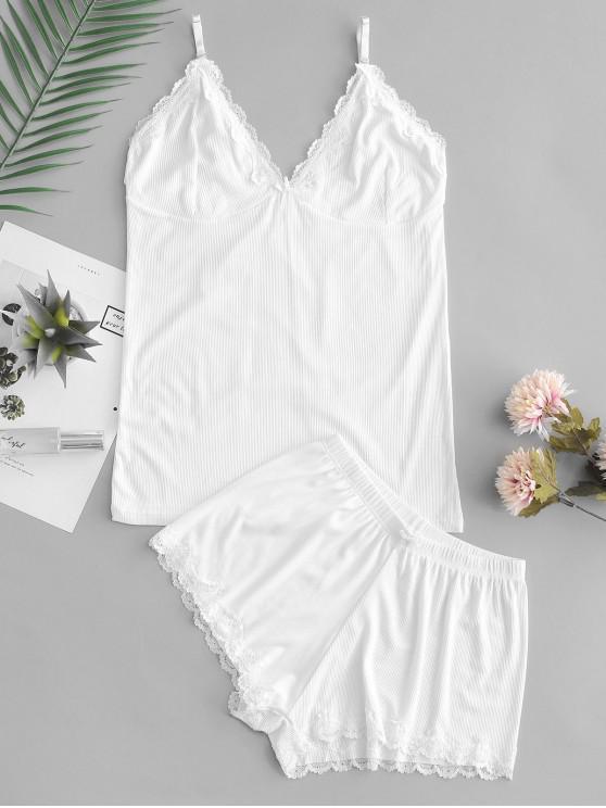 fashion Lace Panel Bowknot Cami Pajama Suit - WHITE ONE SIZE