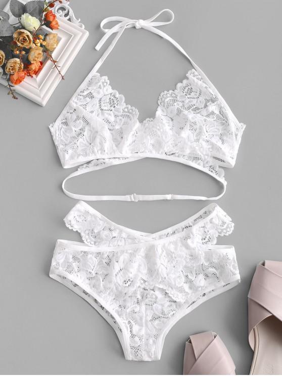 womens Halter Wrap Cross Lace Bra Set - WHITE L