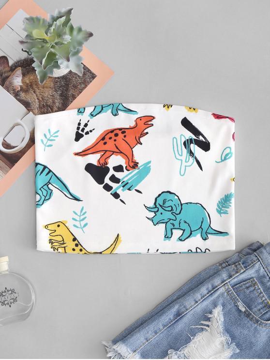 Haut Bandeau Dinosaure Mignon Imprimé - Blanc L