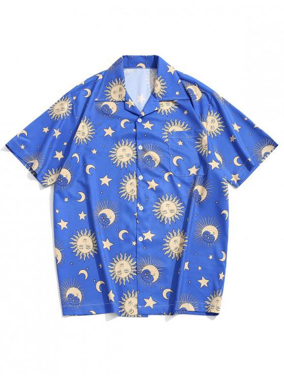 online Cartoon Sun Moon and Star Print Short Sleeves Shirt - BLUE L