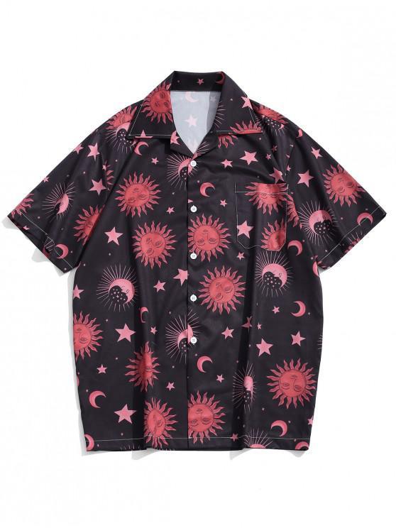 ladies Cartoon Sun Moon and Star Print Short Sleeves Shirt - BLACK XL