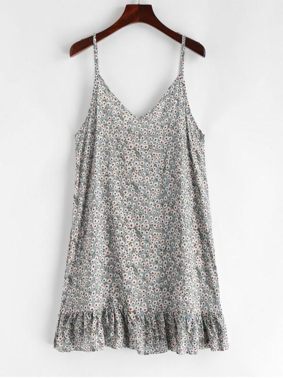best Ruffles Tiny Floral Print Cami Dress - MULTI-A S