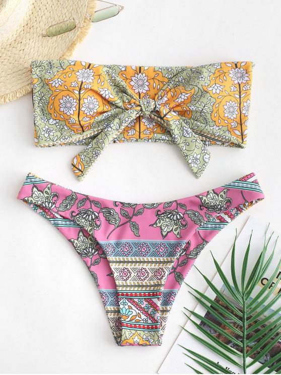 shops ZAFUL Bohemian Flower Tied Bandeau Bikini Swimsuit - MULTI-A M
