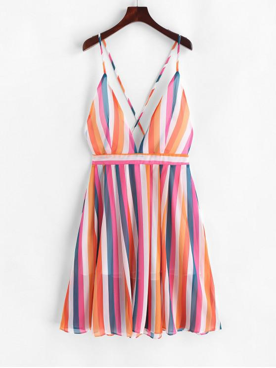 lady Colorful Stripes Criss Cross Cami Dress - MULTI M