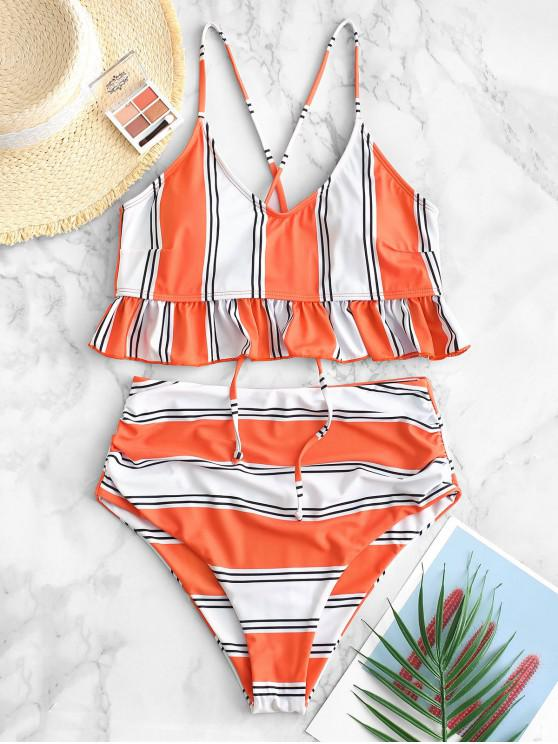 lady ZAFUL Striped Flounce Tummy Control Tankini Swimsuit - ORANGE S