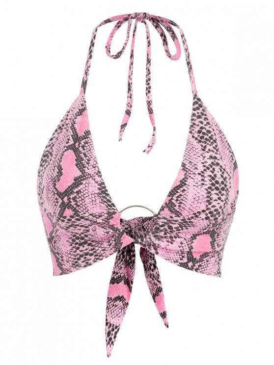 trendy Tie Back Double Lined Snake Print Crop Top - DEEP PINK S