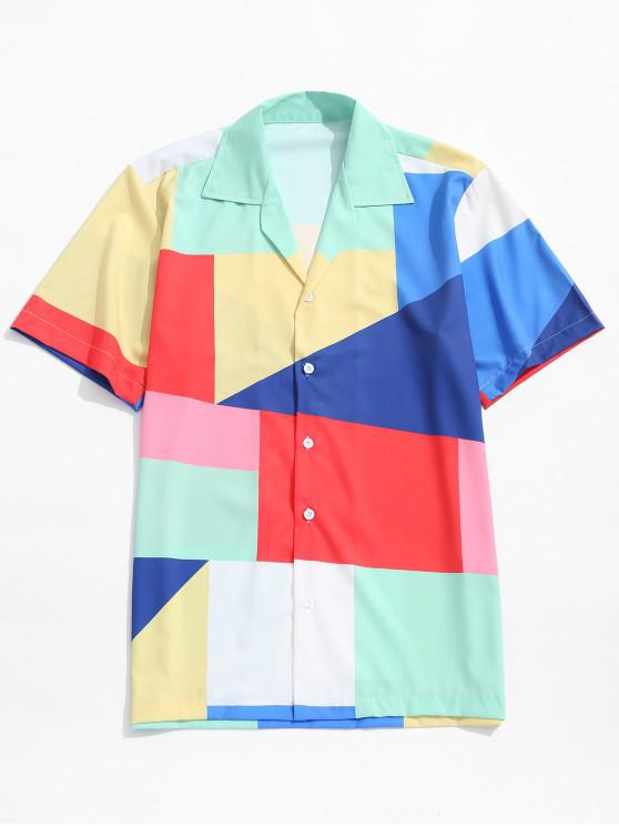 affordable Colorful Geometric Color Block Panel Print Shirt - MULTI M