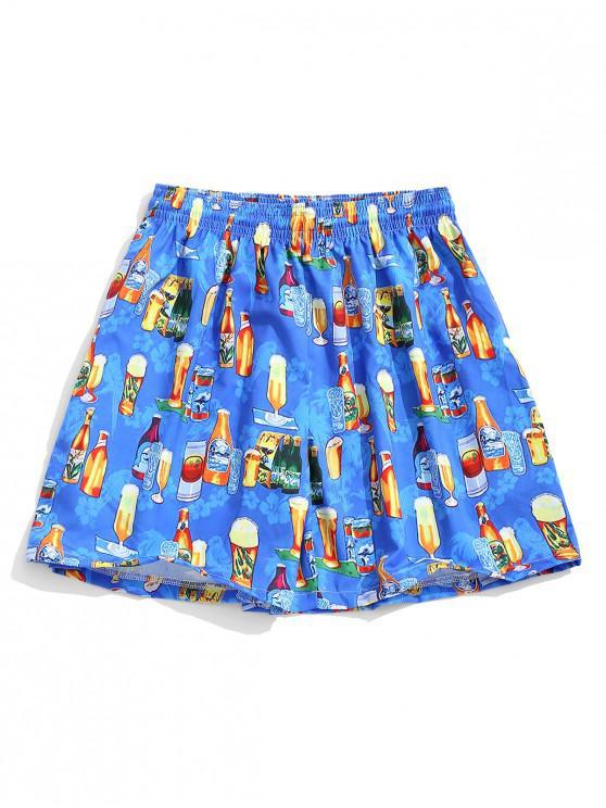 ladies Hawaii Drinks Print Button Shorts - MULTI 2XL