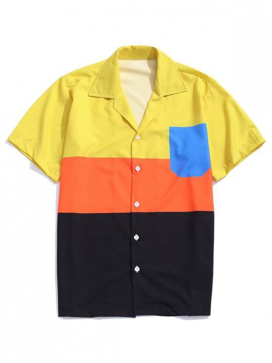 women's Color Block Panel Button Shirt - MULTI L