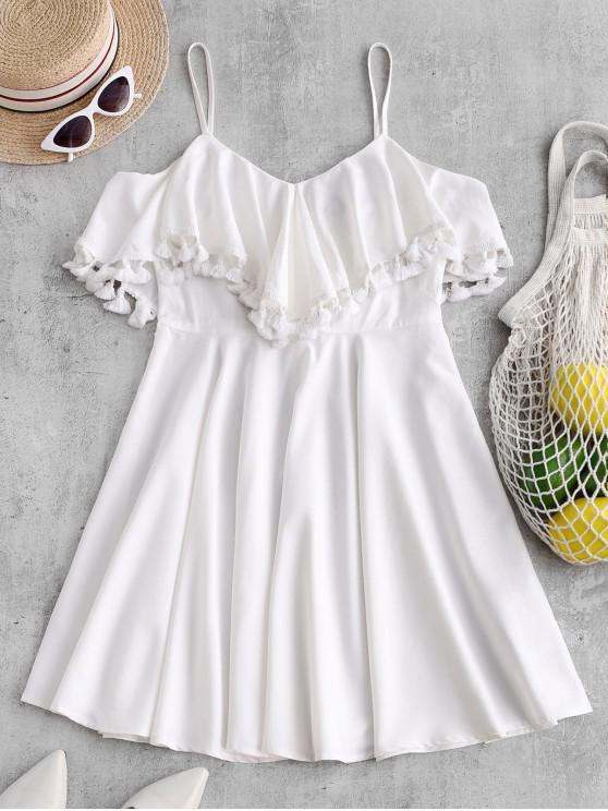 shops ZAFUL Tassel Flounce Cami Mini Dress - WHITE S