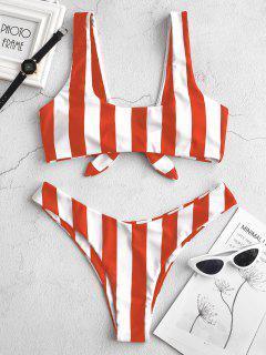 ZAFUL Knot Striped Bikini Set - Bright Orange S