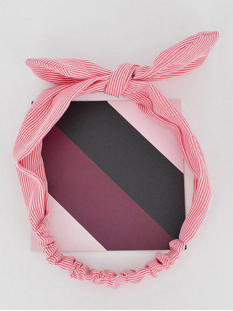 shops Bow Striped Stretchy Headband - RED  Mobile