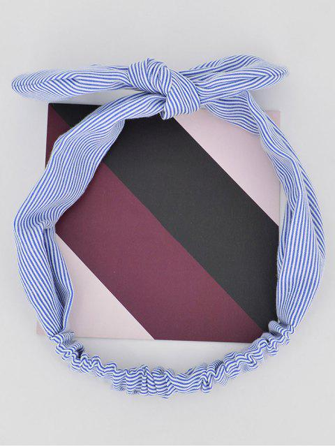 lady Bow Striped Stretchy Headband - CADETBLUE  Mobile
