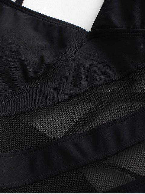 ZAFUL Сетчатая вставка На шнуровке Слитный Купальник - Чёрный L Mobile