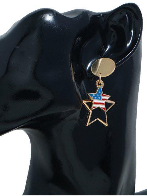 shop American Flag Star Shaped Asymmetrical Earrings - GOLD  Mobile