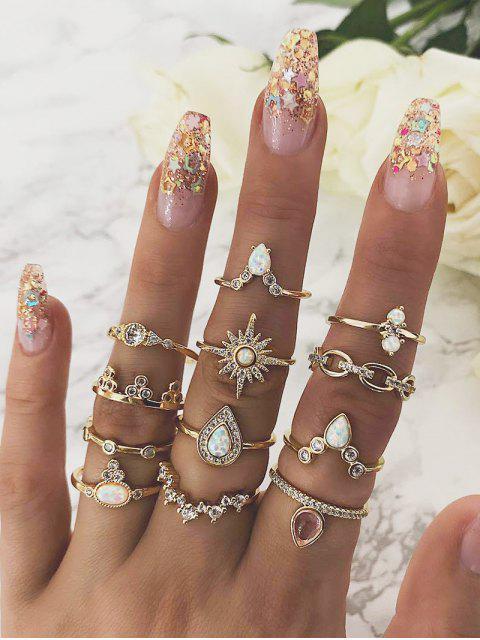 best 12-piece Teardrop Diamante Ring Set - GOLD  Mobile