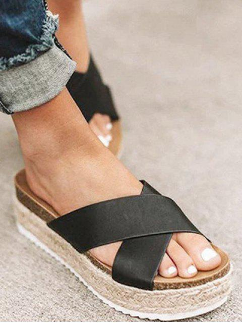 unique Cross Strap Platform Espadrille Slides - BLACK EU 42 Mobile
