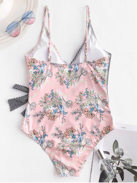 online ZAFUL Knot Striped Plant Print One-piece Swimsuit - ROSE S Mobile