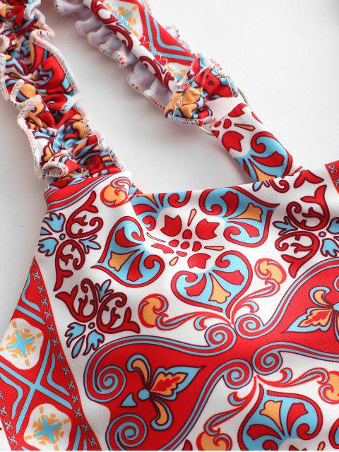 ZAFUL Maillot de Bain Bikini Fleuri à Ourlet en Laitue Style Bohémien - Multi-A S Mobile