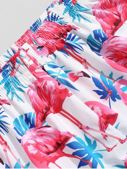 Pantalones cortos de tabla Hawaii con estampado de flamenco de plantas tropicales - Multicolor L Mobile