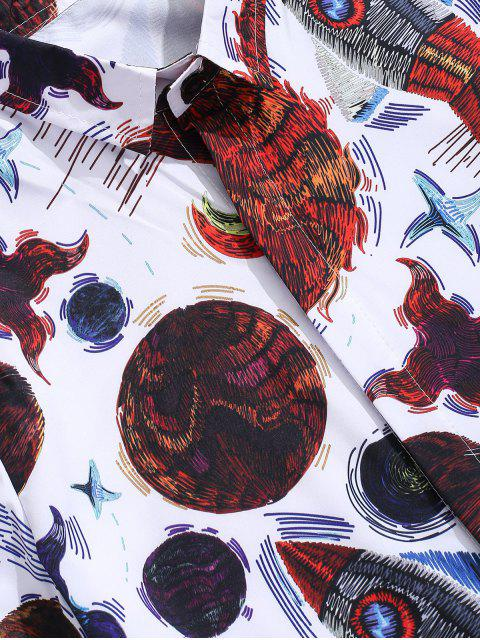 trendy Abstract Fish Pattern Print Button Shirt - WHITE M Mobile