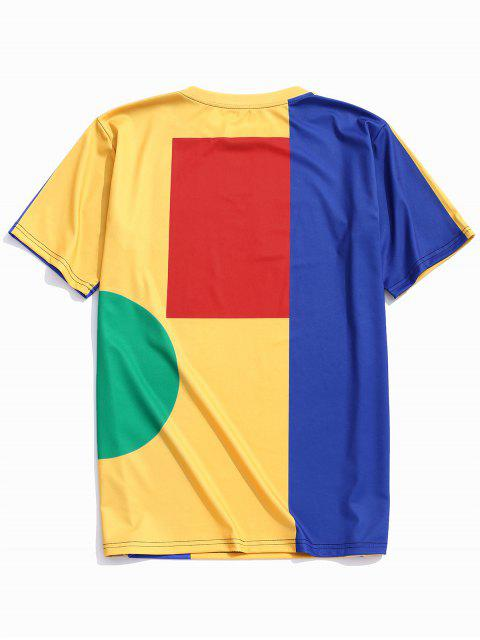 Camiseta con cuello redondo y panel de bloques de color geométrico - Multicolor S Mobile