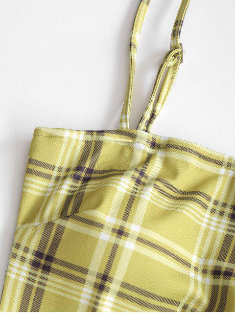 Robe Moulante à Carreaux à Bretelle - Vert Thé M Mobile