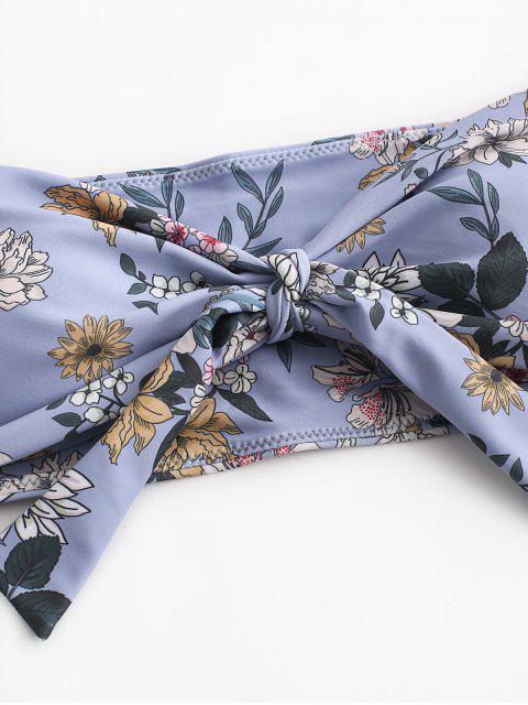 fashion ZAFUL Tied Floral Bandeau Bikini Swimsuit - BLUE GRAY M Mobile