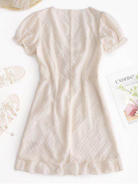 affordable ZAFUL Cinched Chiffon Flounce Swiss Dot Dress - WARM WHITE M Mobile