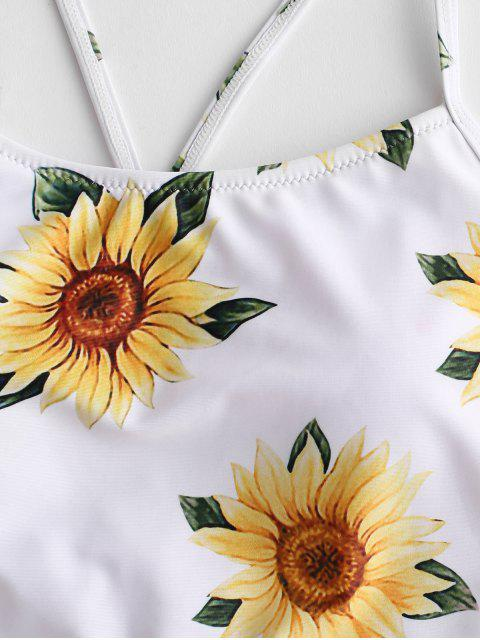 sale ZAFUL Crisscross Ruched Sunflower Tankini Set - CAMOUFLAGE GREEN 2XL Mobile