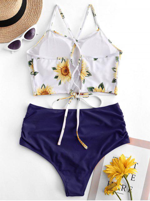 shop ZAFUL Crisscross Ruched Sunflower Tankini Set - LAPIS BLUE M Mobile