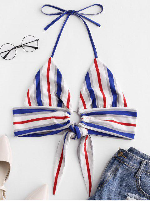 fashion ZAFUL Contrast Striped Knotted Halter Top - MULTI S Mobile