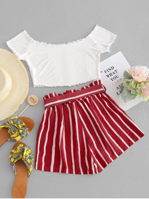 latest ZAFUL Off Shoulder Top And Stripes Shorts Set - MULTI-A S Mobile