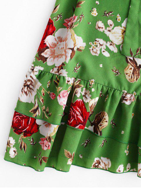 ZAFUL Robe Ceinturée Fleur à Bretelle à Volants - Vert Tortue de Mer M Mobile