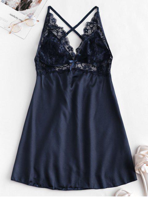 best Crisscross Lace Panel Satin Babydoll - MIDNIGHT BLUE XL Mobile