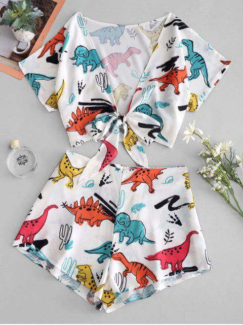 hot Tie Front Dinosaur Cropped Top And Shorts - WHITE S Mobile