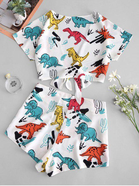 fashion Tie Front Dinosaur Cropped Top And Shorts - WHITE M Mobile