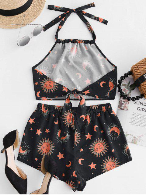 women's ZAFUL Knotted Star Moon And Sun Top And Shorts Set - BLACK L Mobile