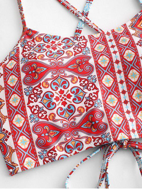 ZAFUL Bohemian Lace Up traje de baño Tankini de cintura alta - Multicolor-A S Mobile