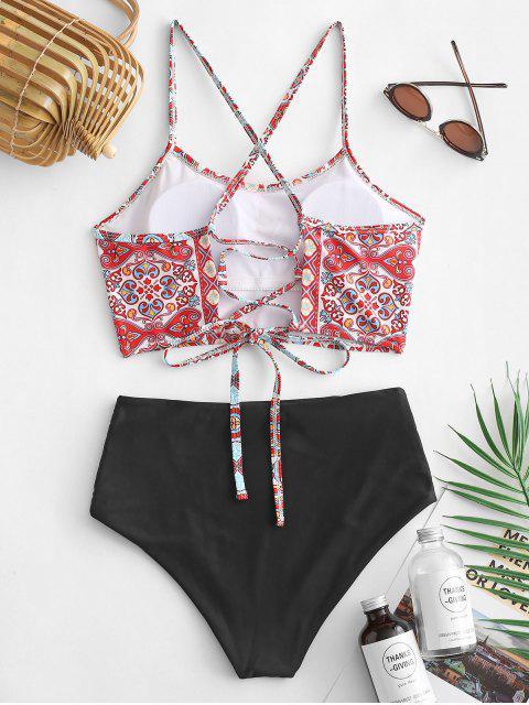 ZAFUL Bohemian Lace Up traje de baño Tankini de cintura alta - Multicolor-A M Mobile