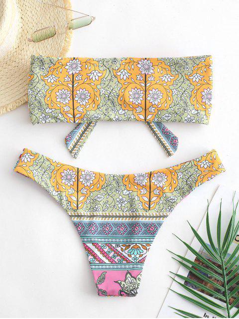 ladies ZAFUL Bohemian Flower Tied Bandeau Bikini Swimsuit - MULTI-A S Mobile