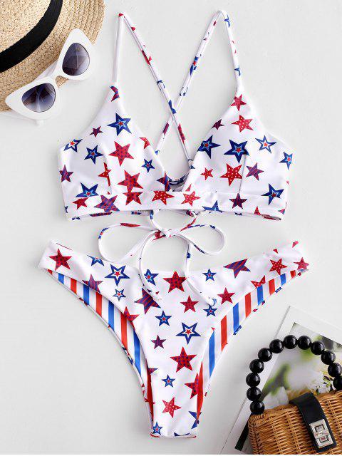 ZAFUL Bikini Reversible con Estampado de Bandera de Estados Unidos - Multicolor-A M Mobile