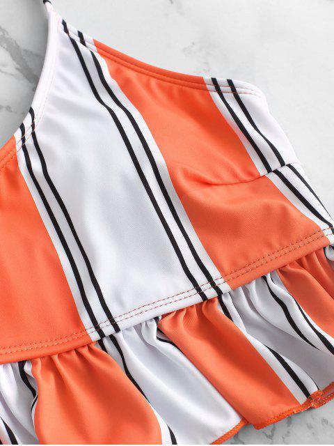 online ZAFUL Striped Flounce Tummy Control Tankini Swimsuit - ORANGE L Mobile