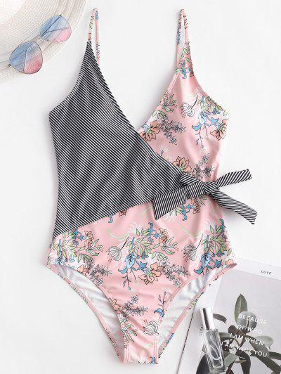 ZAFUL Knot Striped Plant Print One-piece Swimsuit - Rose L