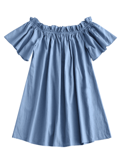 ZAFUL Frilled Off Shoulder Short Chambray Dress, Blue gray