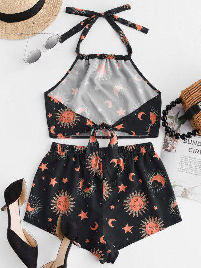 cacb73b4d ... ZAFUL Knotted Star Moon And Sun Top And Shorts Set - Black M Flash sale  HOT